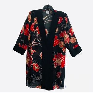 Vintage Dana Kay Floral Sequin Kimono Cover